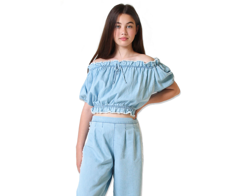 Maisie Chambray Peasant Top