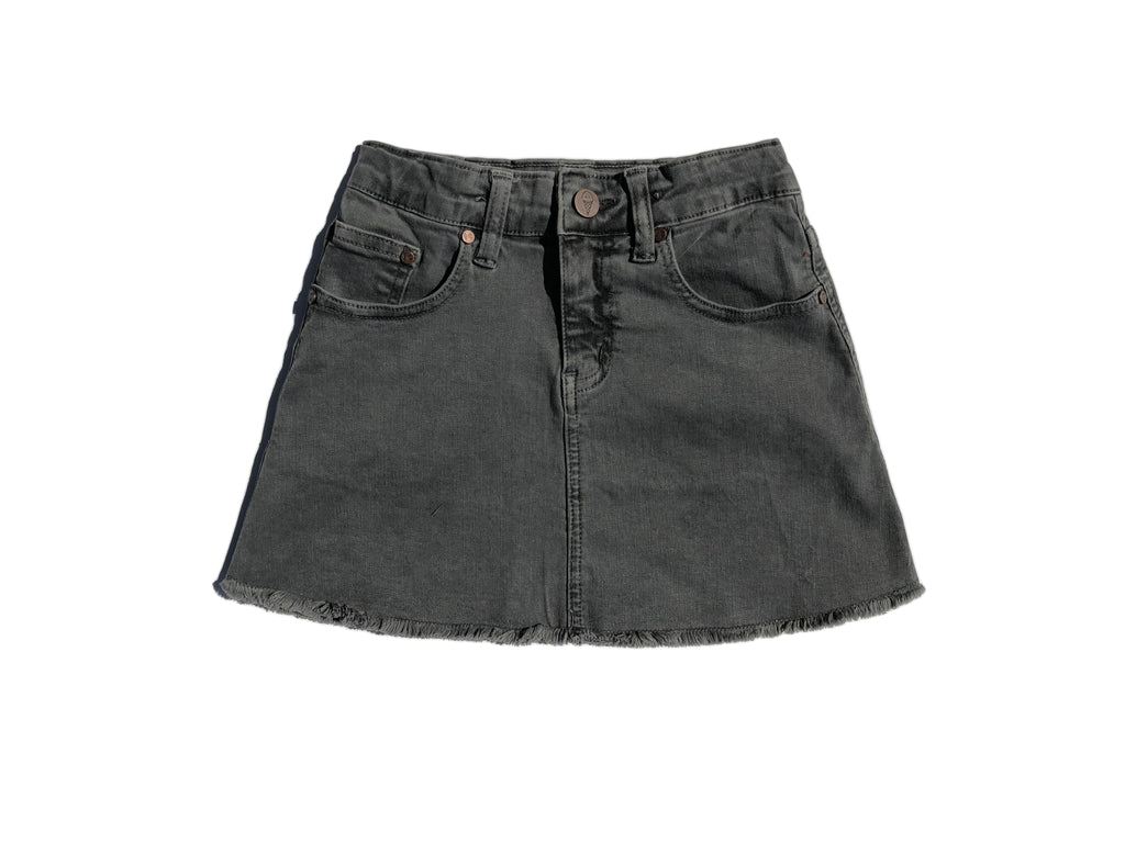 teen girl vintage faded black denim skirt raw edge