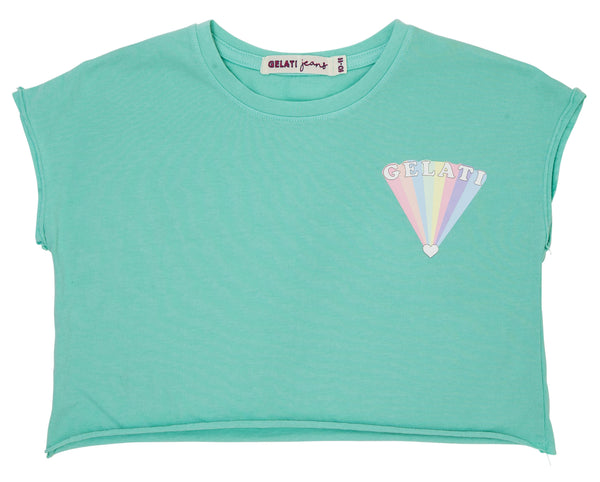 teen girl mint crop cotton tee with rainbow print