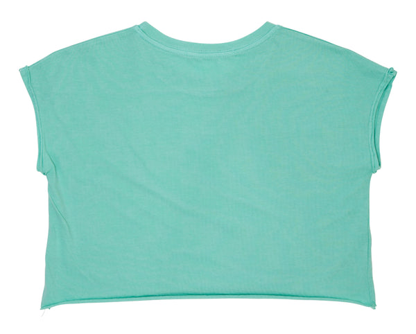 teenage girl green crop top in cotton with custom rainbow print