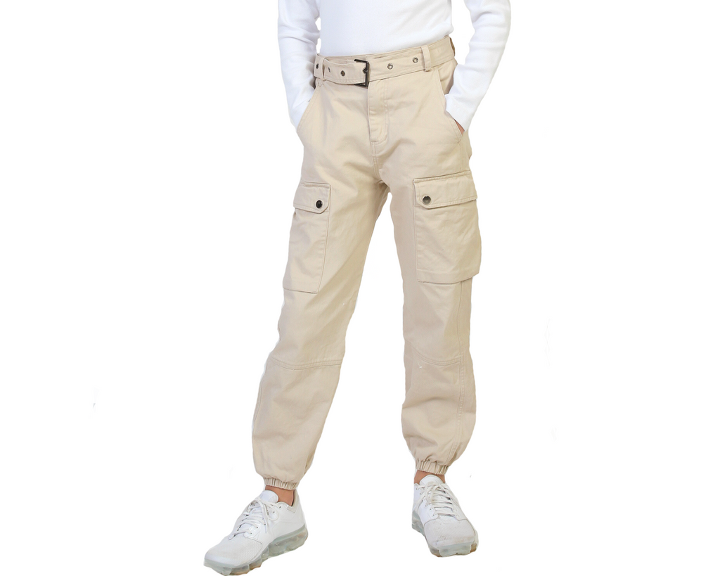 teen girls beige cargo pant with detachable belt