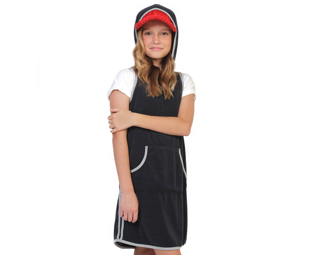 teen girl wearing navy french terry hood dress