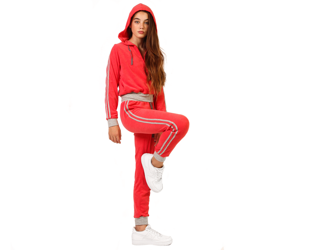 teen girl wearing red french terry towelling hoodie