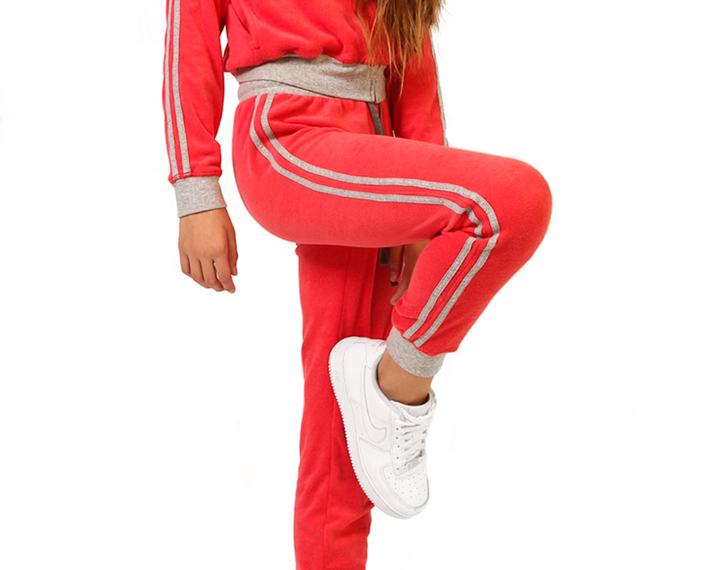 teen girl french terry track suit pants in red with contrast grey