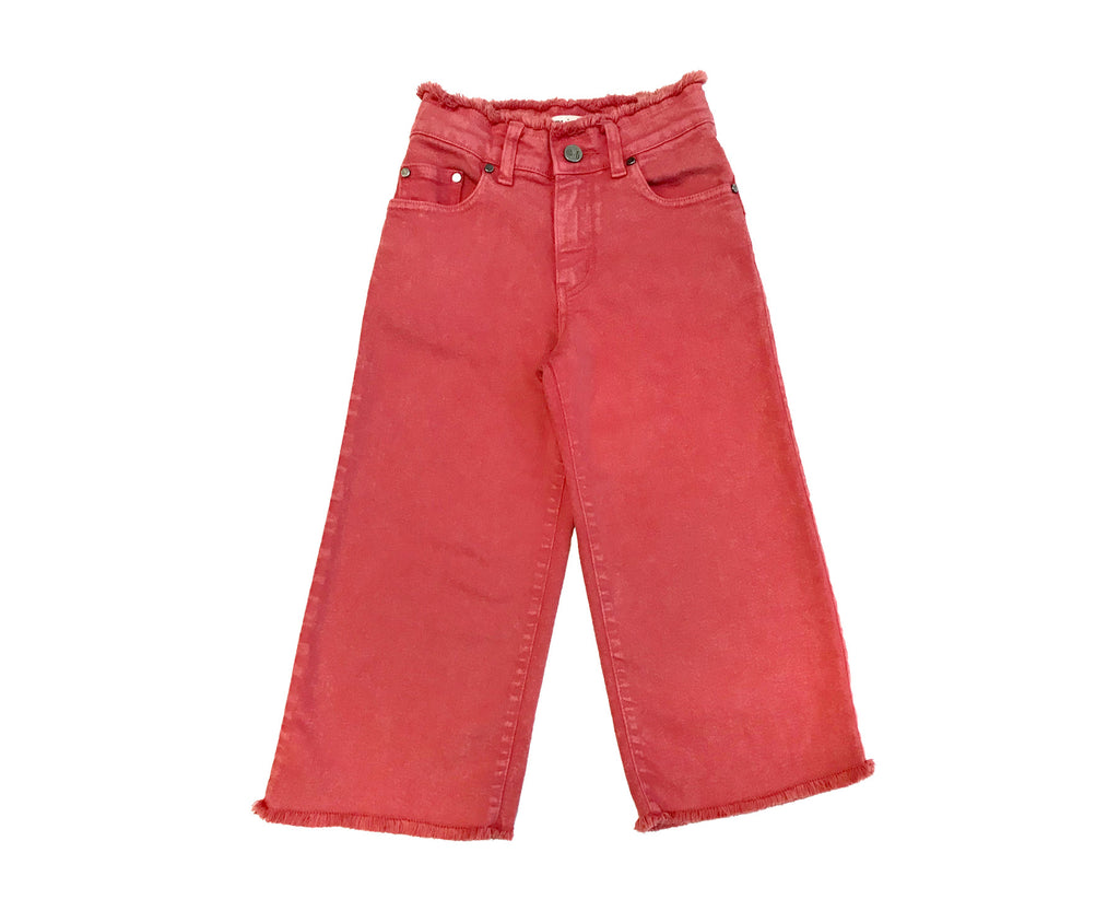 Bianca Wide Leg Denim Jeans- Acid Wash Red