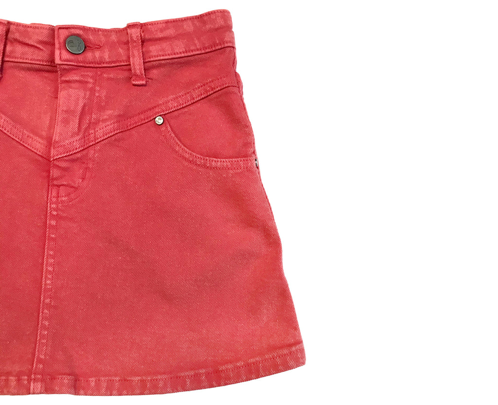 Rikki Denim Skirt - Acid Wash Red
