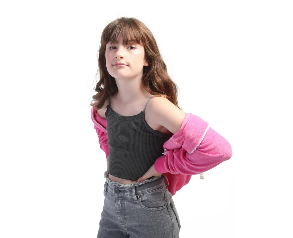 Teen girls wearing ribbed cami in black with babylock hem