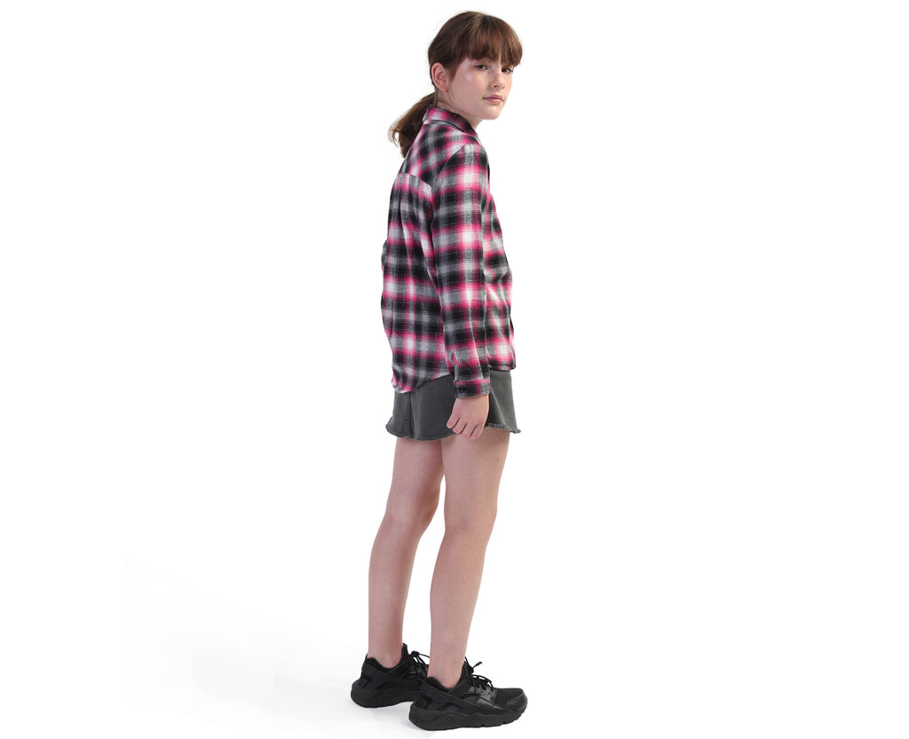 back of pink black and silver check flanny shirt