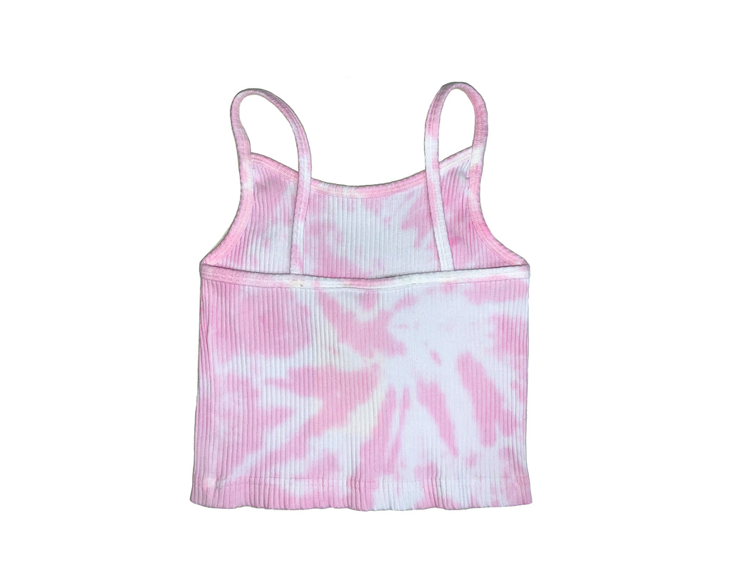 teenage girl tie dye pink and white ribbed cami