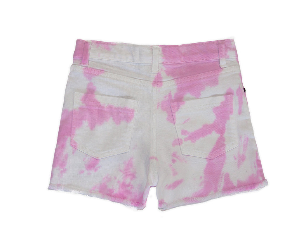 teenage girl tie dye pink white denim short high rise