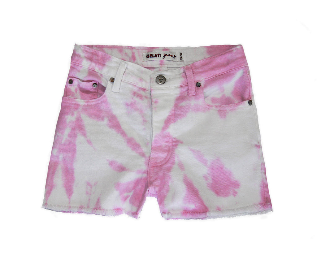teen girl pink and white tie dye denim short