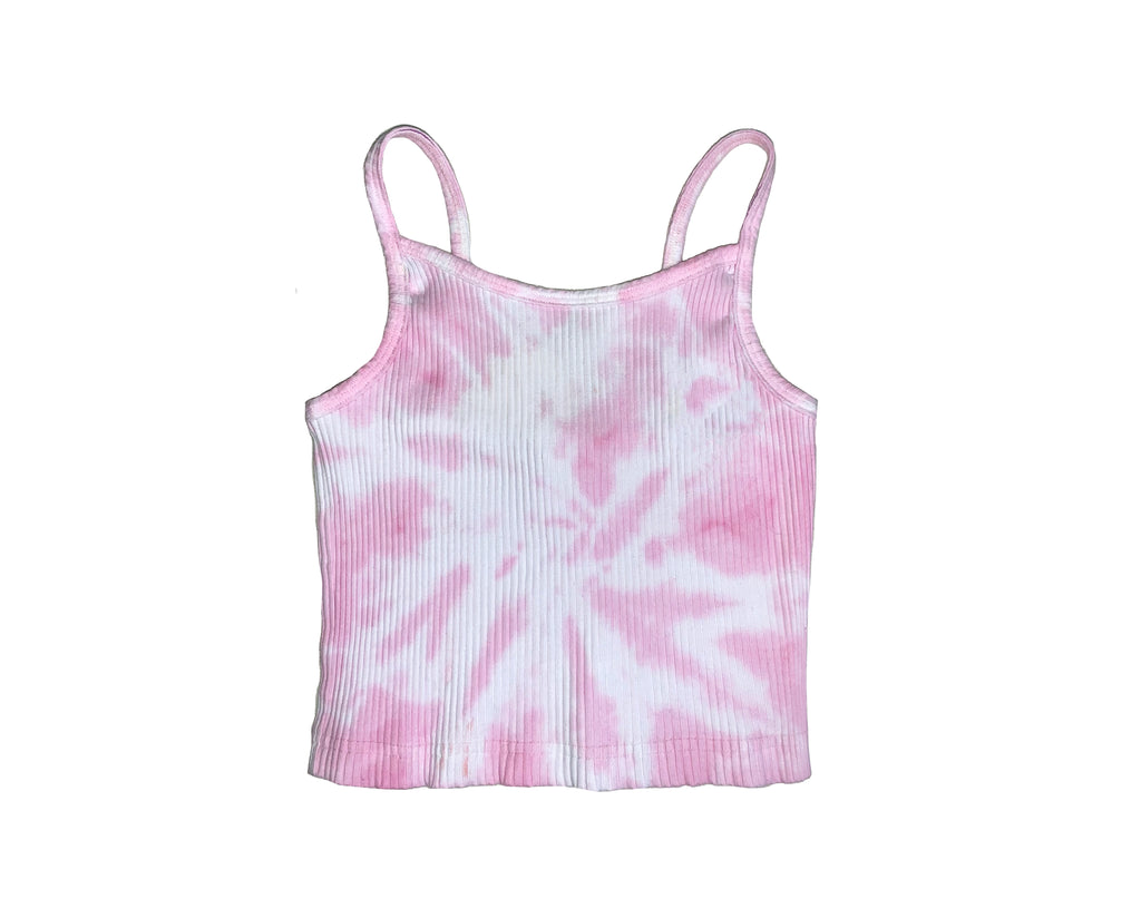 teen girl pink and white ribber tie dye cami