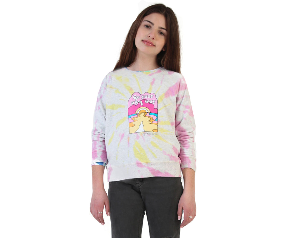 teen girl pink and yellow tie dye sweat with graphic print