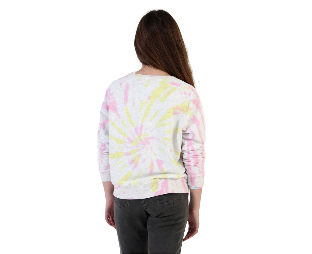 teenage girl sweater in yellow and pink tie dye