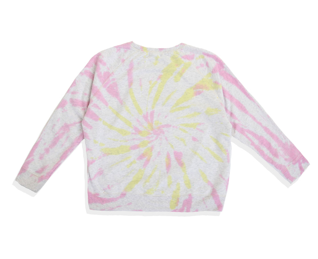yellow and pink tie dyed jumper with front graphic print