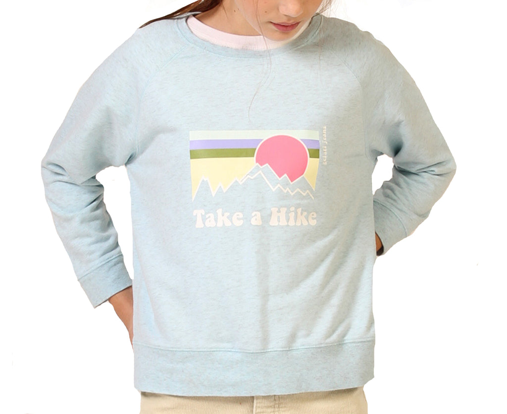 teenage girls sweatshirt in light blue with take a hike graphic print