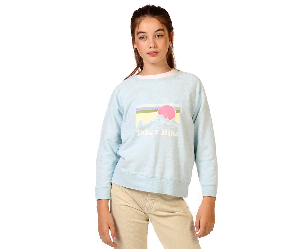 teen girl pale blue windcheater with take a hike graphic print