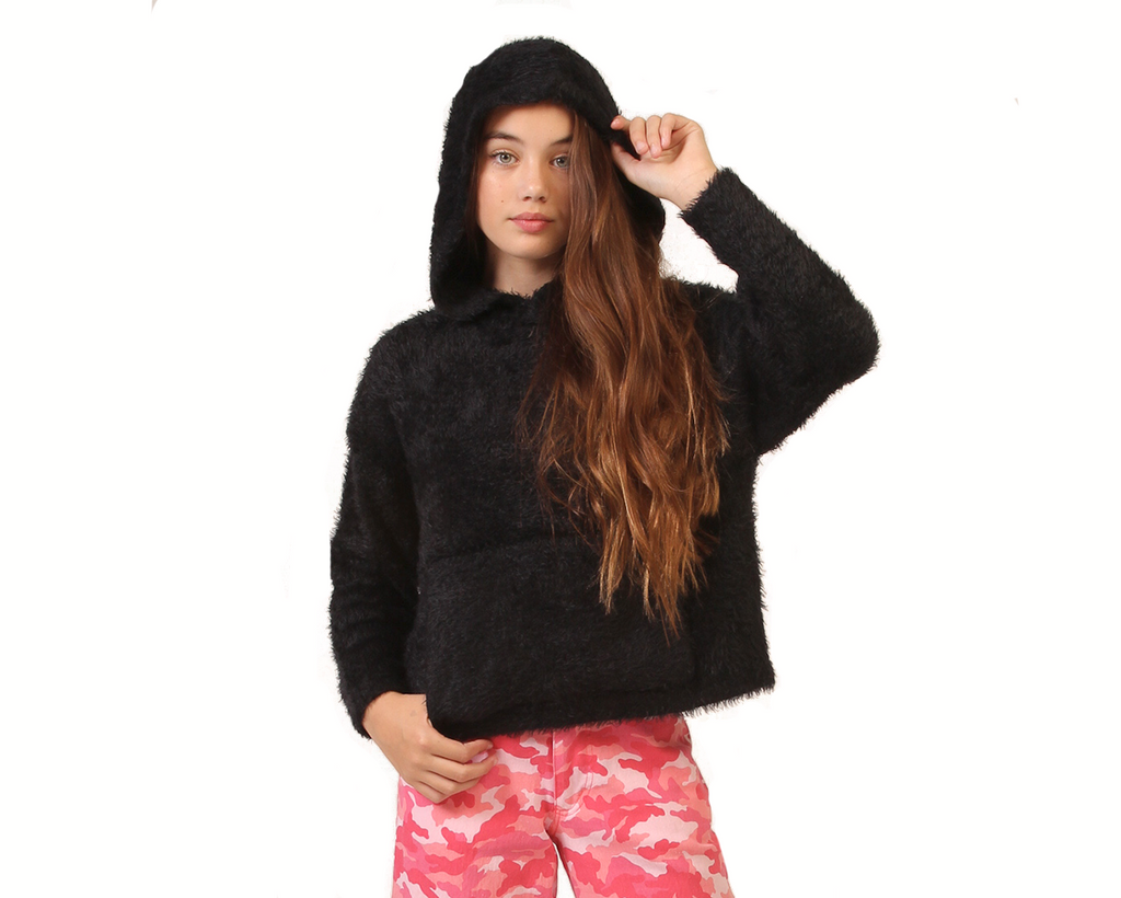 cosy teen girl knitted jumper in black with hood