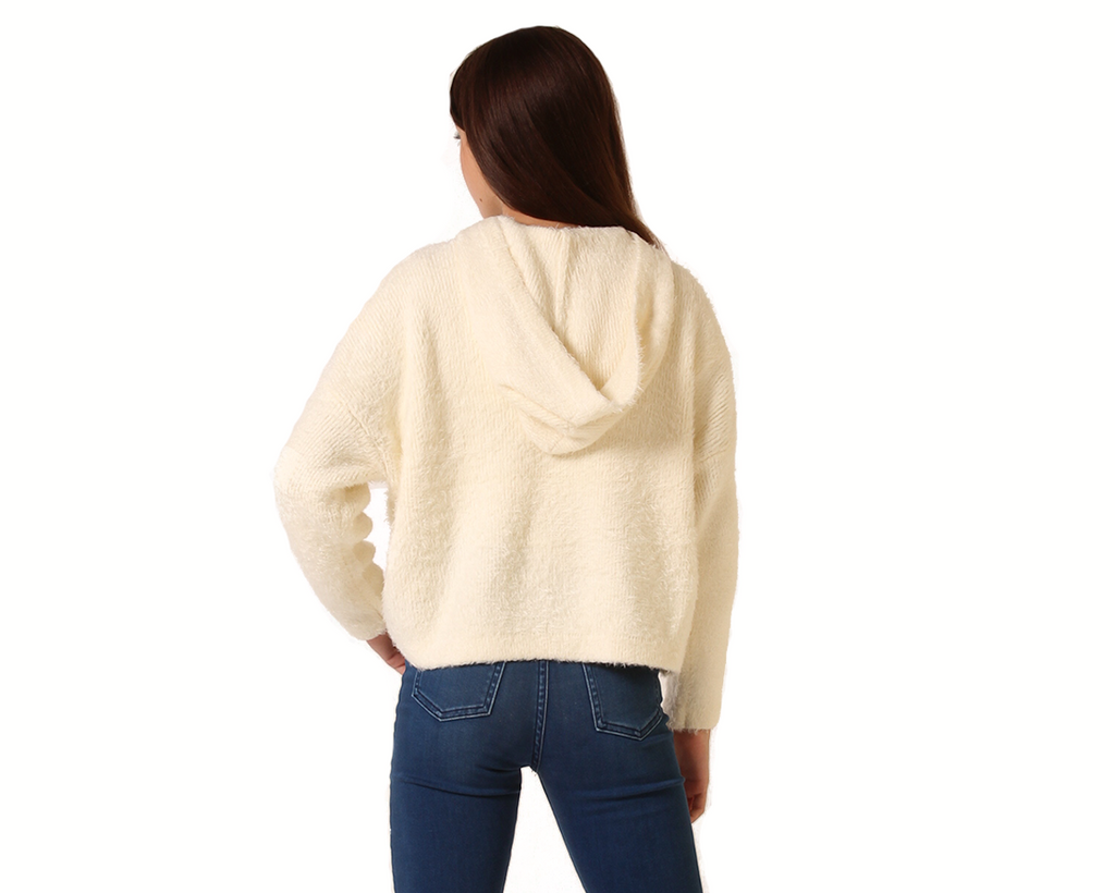 teen girls hoodie in cream fluffy knit