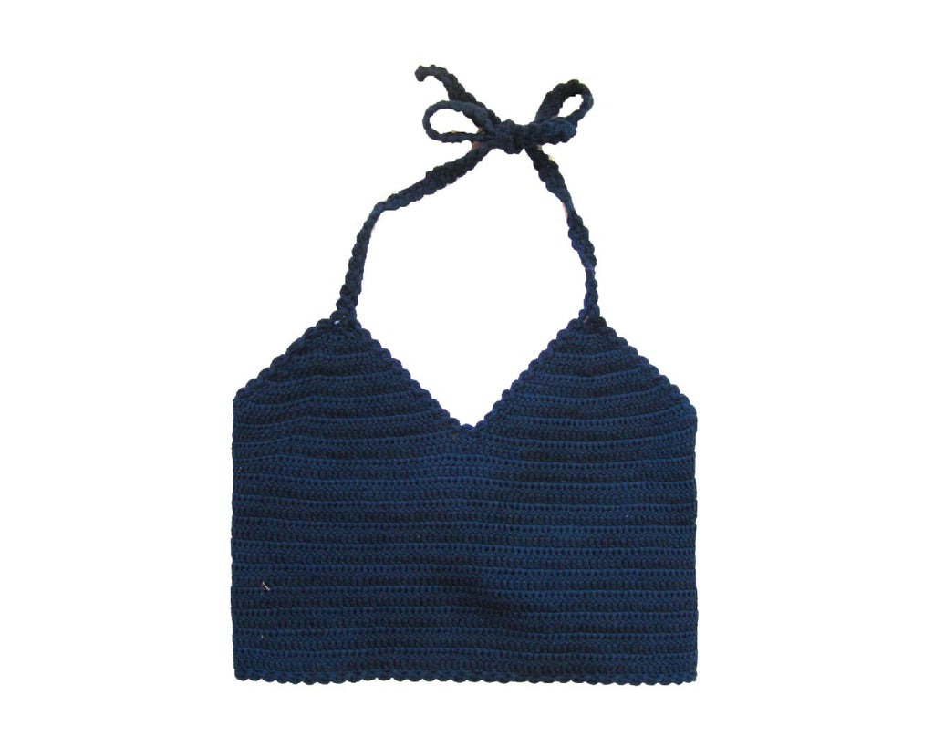 Teenage Dream Crochet Halter Top - Navy