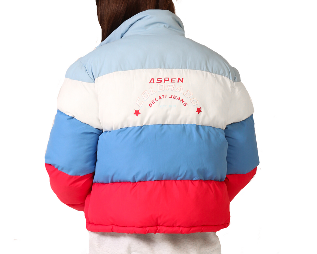 puffer jacket in blue red white with back print