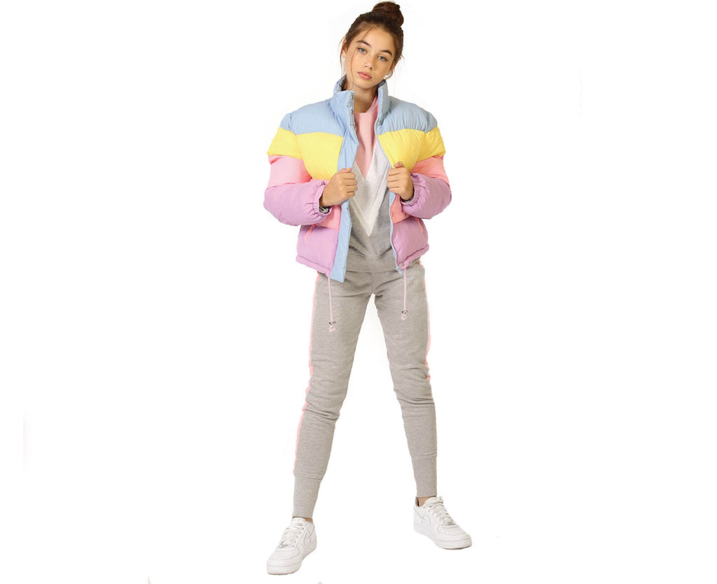 teen girl puffer jacket in pastel with print