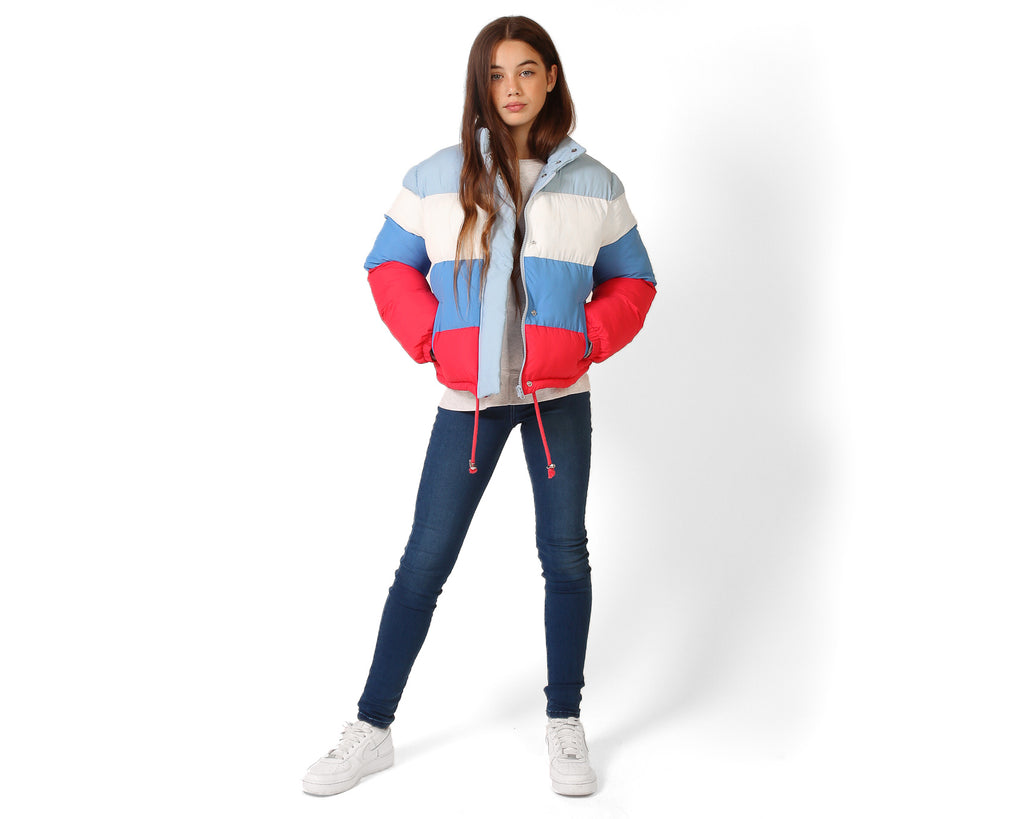 teen girl primary puffer jacket red blue white
