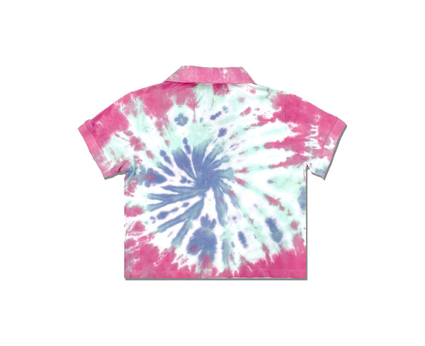 back of bright swirl tie dye polo shirt for young girls