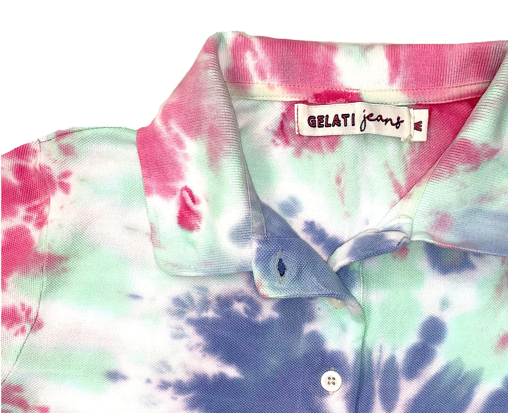 pink green and blue swirled tie dye polo shit for young teen girls