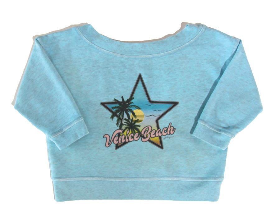 Baby blue wind cheater with venice beach print
