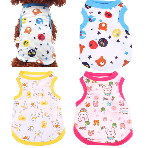 3 Color Cotton Print Dog Sleeveless Coat