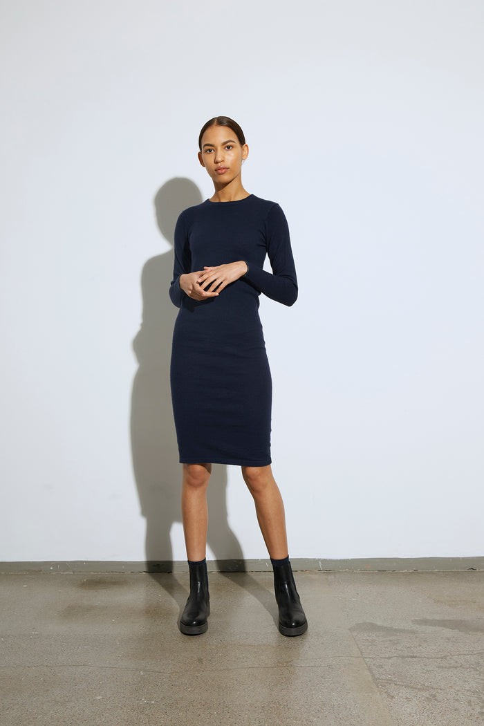 Stretchy Wool Dresna, Navy