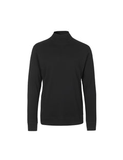 Cotton Rib Stelt Rollneck, Black