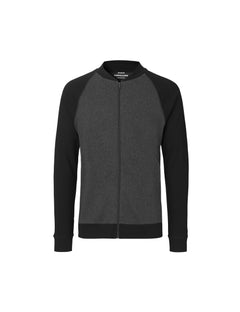 Cotton Rib Jacket Contrast, Black/Charcoal Melange