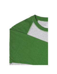 Cotton Rib Stelt Contrast, Garden Green/Grey Melange