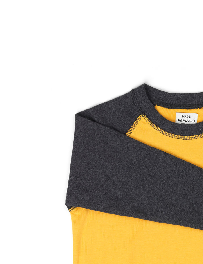 Cotton Rib Steltino Contrast, Charcoal Melange/Golden Rod