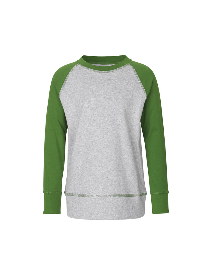 Cotton Rib Steltino Contrast, Garden Green/Grey Melange