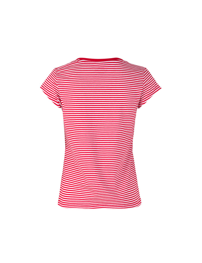 Organic Favorite Stripe Teasy, Red/White