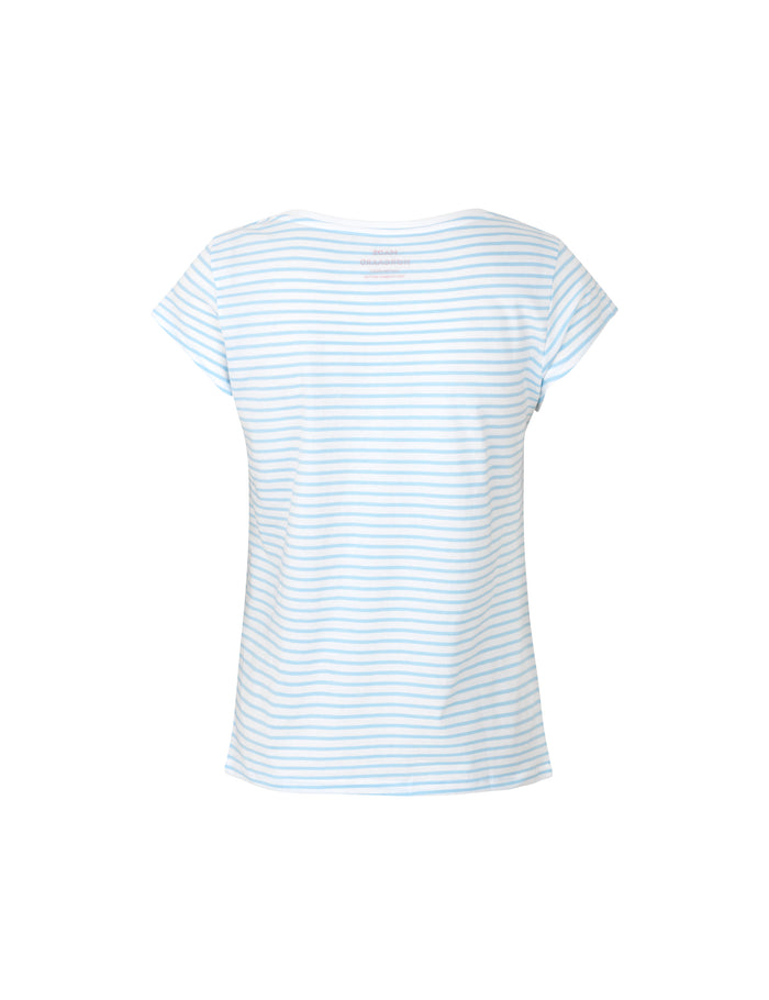 Organic Favorite Stripe Teasy, White/Sky Blue