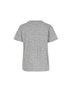 Printed Single Org Trenda P, Grey melange/White