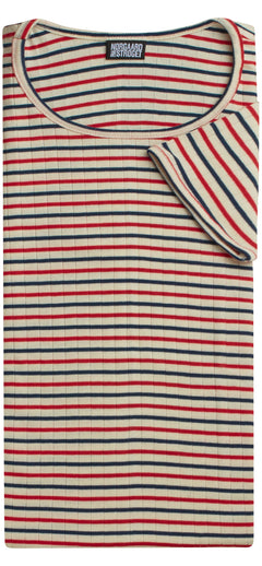 101 Short Sleeve Tricolore, Ecru/Red/Navy