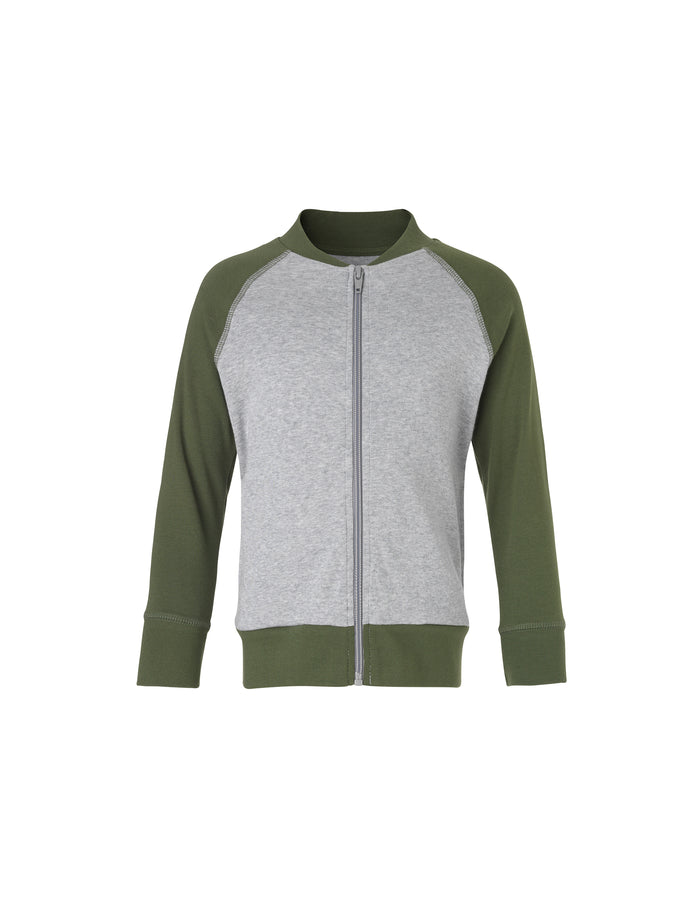 Cotton Rib Jackino Contrast, Grey Melange/Rifle Green