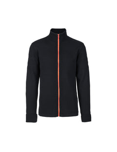 100% Wool Klemens Zip Kontrast, Black/Orange