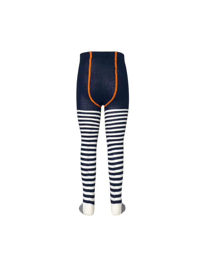 Striped Wool Tights, Navy
