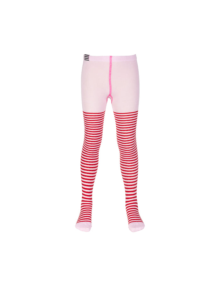 Cotton Rib Tights, Red/Rose
