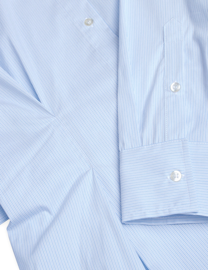 Organic Poplin Deedee, Light Blue Stripe