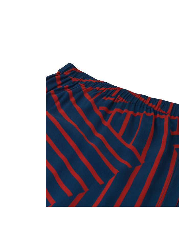 Viscose Stripe Silvana, Navy/Red