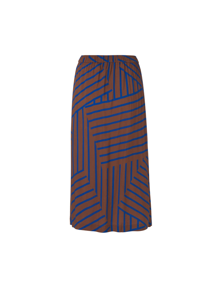 Viscose Stripe Silvana, Mid Brown/Blue