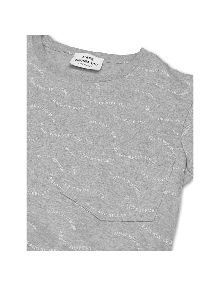 Printed Single Org Drastica, Grey melange/White