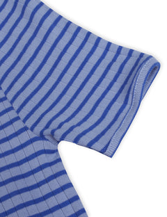NPS Long John Dress Short Sleeve Stripes, Powder Blue/Klein
